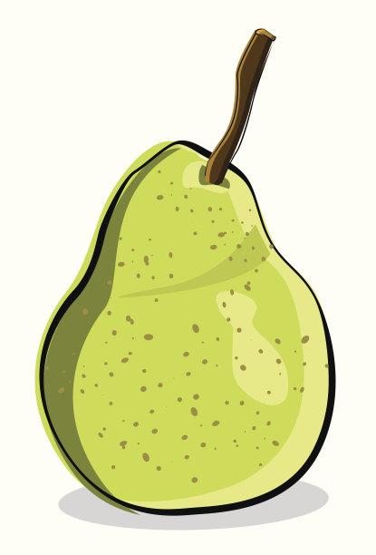 绿色,梨,自然,水果,无人,绘画插图,有机食品,生食,熟的,甜食