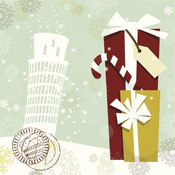 圣诞节,明信片,比萨斜塔,比萨,纪念碑,圣诞卡,雪,无人,绘画插图,古典式