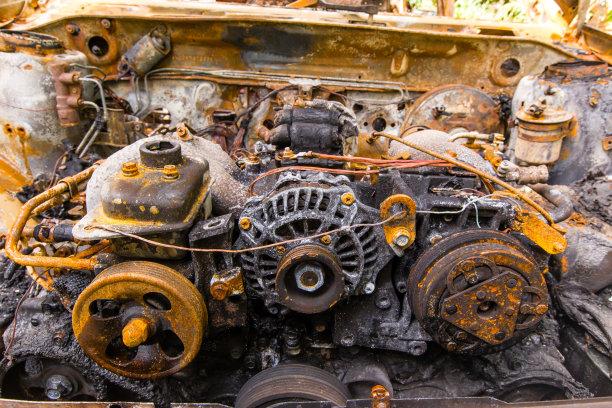 生锈的,汽车,烧毁的,全部,水平画幅,无人,环境损害,古老的,陆用车