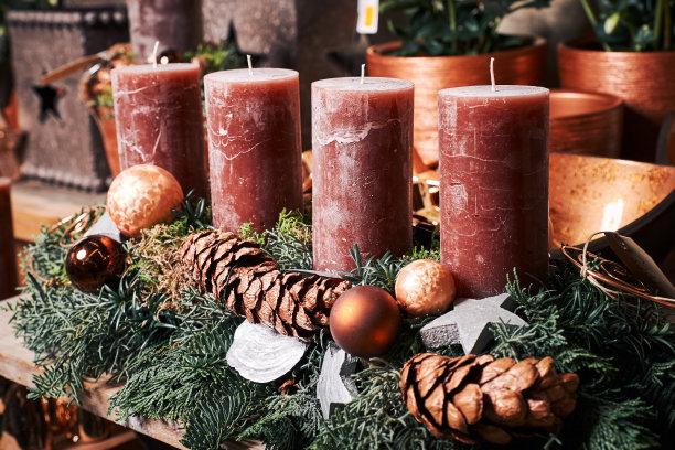 星形,木制,蜡烛,枝,杉树,小的,红色,桌子,排列