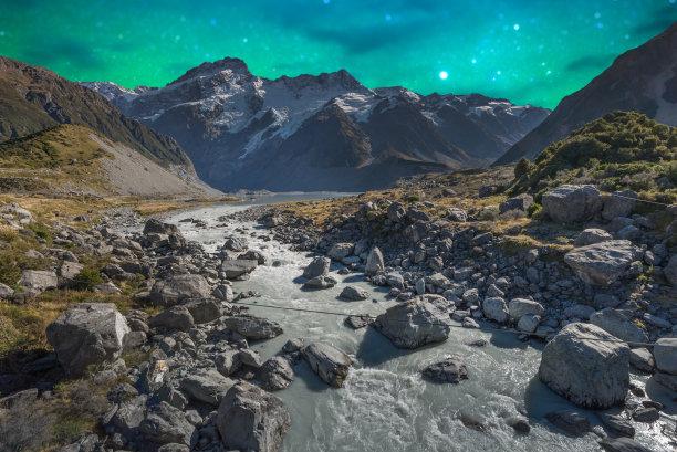 马瑟森湖,银河系,新西兰,库克山,天空,星系,星星,夜晚,雪,月亮