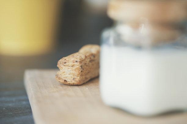 饼干,牛奶,坚果,开胃品,脆饼干,乡村风格,清新,小的,木制,面包店