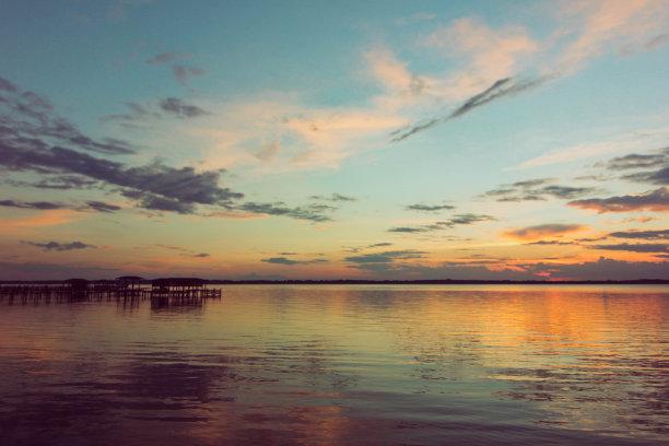 湖,云景,码头,宏伟,在上面,水,天空,美,公园,水平画幅