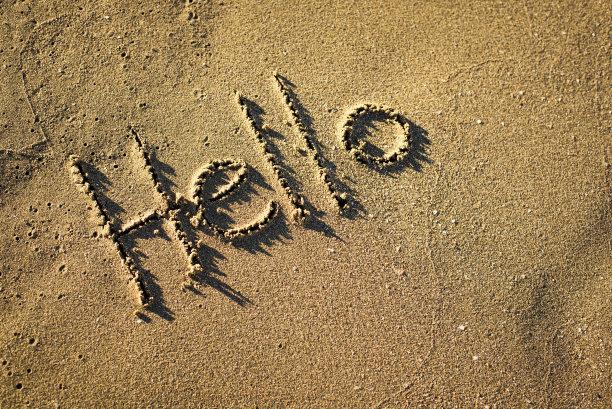 你好,水,留白,水平画幅,沙子,消息,无人,符号,在边上,夏天