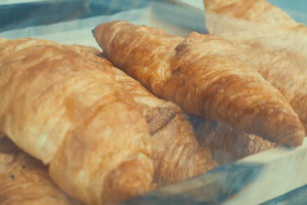 牛角面包,清新,水平画幅,无人,烘焙糕点,早晨,法式食品,商店,特写,面包