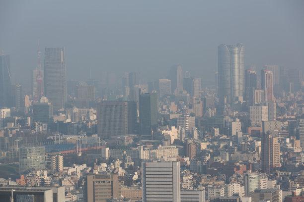 东京,雾,城市天际线,日本,天空,水平画幅,高视角,无人,环境损害