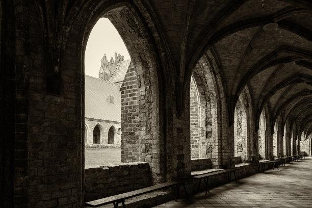 阳光光束,修道院,拱门,海洋,幻想,风景,平衡折角灯,水,古董