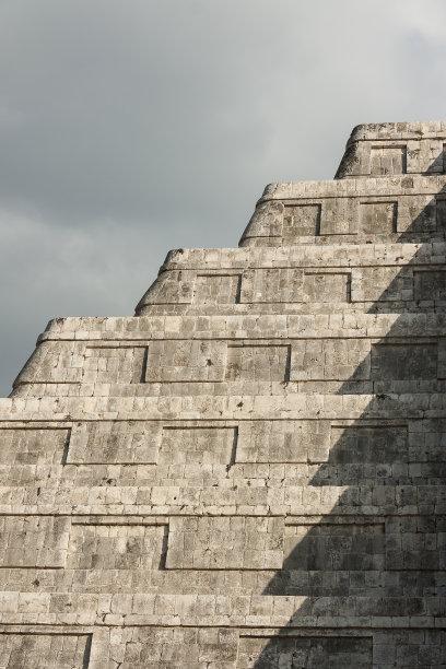 墨西哥玛雅金字,契晨-伊特萨,建筑工地,垂直画幅,天空,宇蛇神庙,古老的,石材,美洲,拉丁美洲