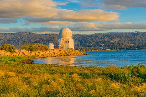 巨熊湖,加利福尼亚,圣伯纳蒂诺县,天文台,太阳,南加利福尼亚,色彩鲜艳,自然美,圆顶建筑,湖
