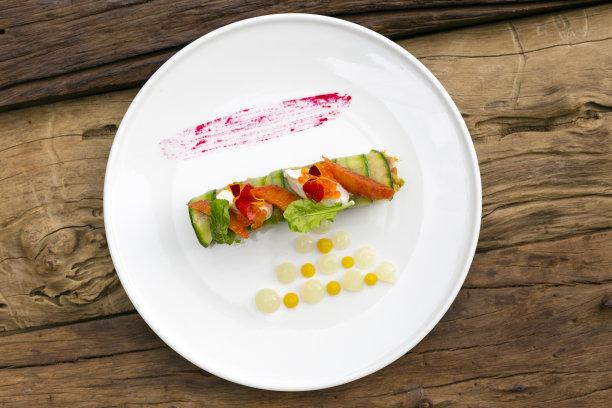 螃蟹,肉卷,鳄梨,餐具,鱼子酱,褐色,水平画幅,开胃品,生食,膳食