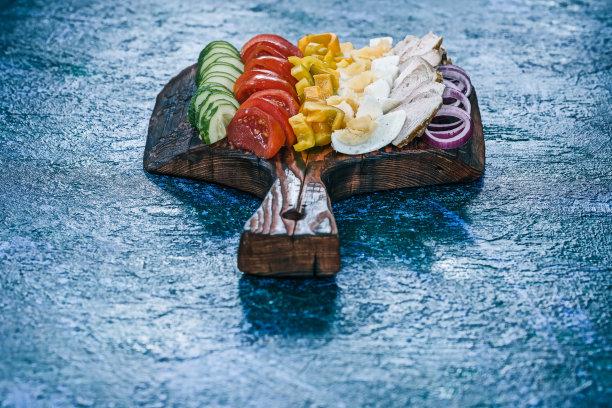 高伯沙拉,蔬菜,清新,水平画幅,灯笼椒,无人,膳食,椒类食物,西红柿,鸡肉汉堡