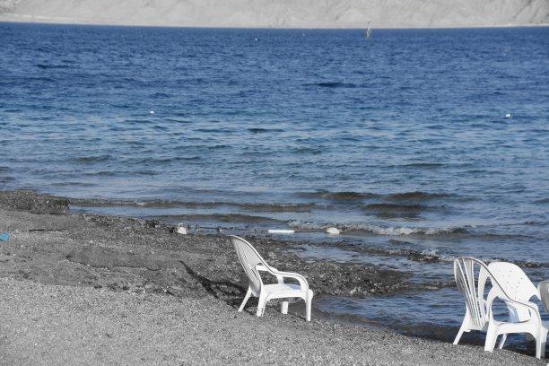 海滩,伊拉特,度假胜地,沙滩椅,客船,水平画幅,沙子,无人,夏天,棕榈树