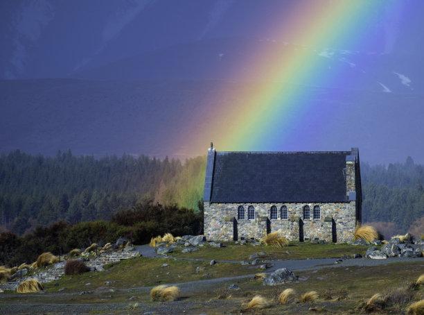 彩虹,帝卡波湖,在上面,水平画幅,雪,无人,麦肯齐地区,户外,南阿尔卑斯山脉