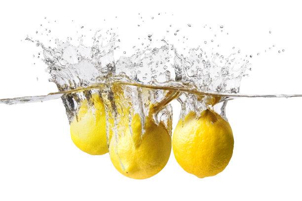 柠檬,清新,三个物体,淡水鱼,水,高速摄影,水平画幅,无人,水下,饮料