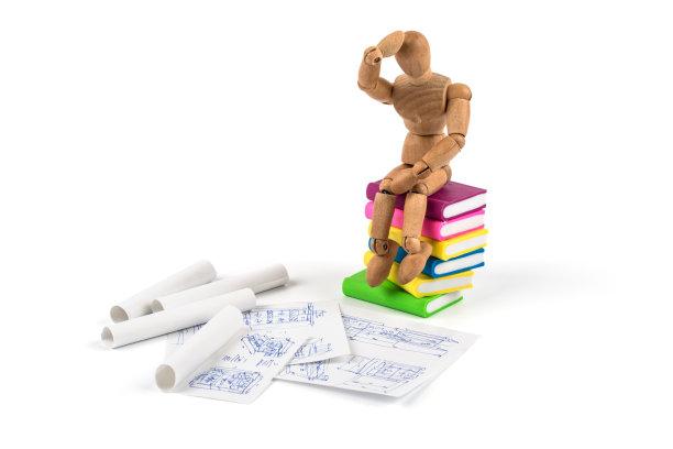 书,木制,人造模特,做计划,接力赛,沉思者,艺术模特,灵感,水平画幅,在底端