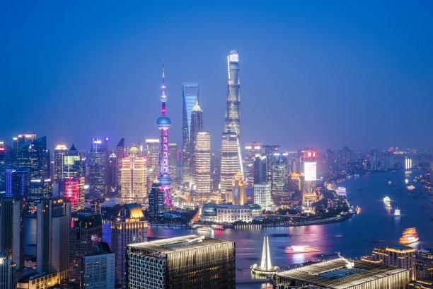 夜晚,浦东,现代,上海,城市天际线,居住区,天空,未来,水平画幅,高视角