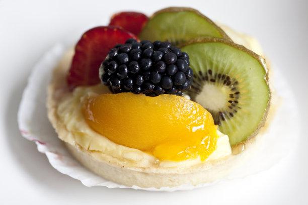 水果蛋糕,奇异果-水果,桃,水平画幅,无人,英国,奶油,蛋糕,清新,菠萝