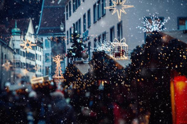 雪,圣诞市场,欧洲,瑞士,水平画幅,夜晚,圣诞树,商店