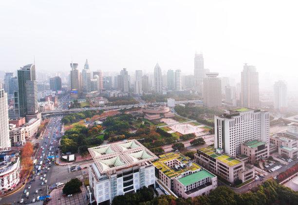 上海,城市天际线,黄昏,天空,未来,水平画幅,高视角,云,夜晚,无人