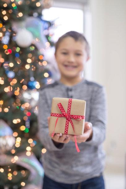 男孩,礼物,包装纸,拿着,垂直画幅,家庭生活,沙发,知识,开幕活动,十二月