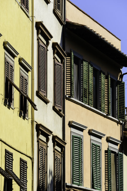 佛罗伦萨,居住区,建筑,意大利,垂直画幅,外立面,无人,古老的,古城,百叶窗