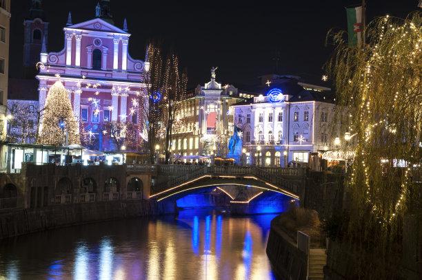 卢布尔雅那,水平画幅,夜晚,无人,古老的,圣诞树,气候与心情,圣诞装饰物