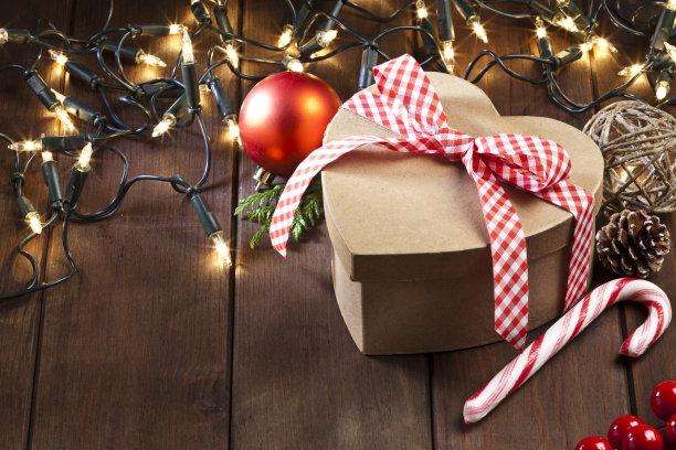 乡村风格,木制,包装纸,桌子,心型,圣诞装饰物,一个物体,厚木板,复古风格