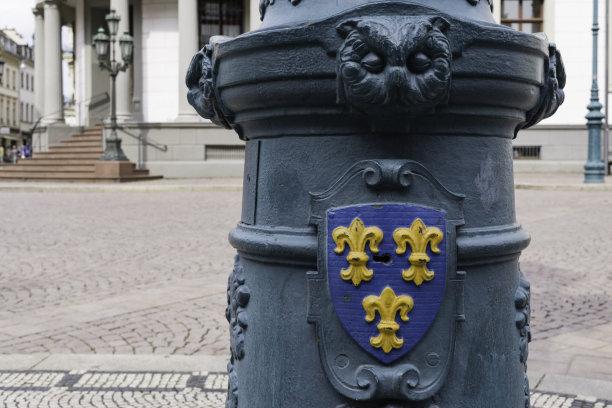 威斯巴登,盾形徽章,步行区,黑森州,路灯,徽章,旅游目的地,水平画幅,无人,欧洲