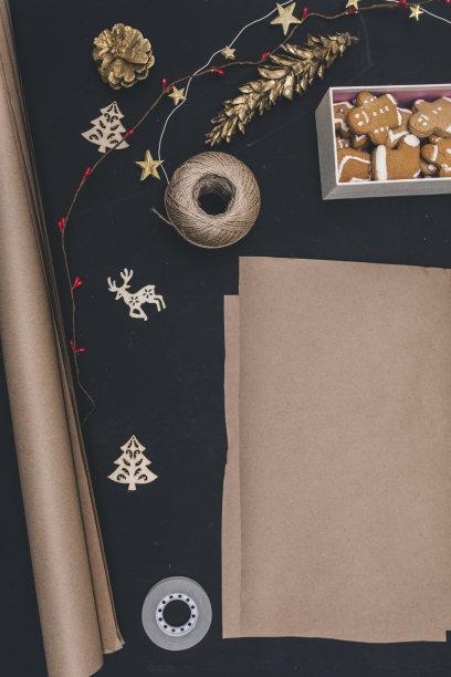 枝,杉树,礼物,风景,黑色背景,盒子,垂直画幅,贺卡,留白,新的