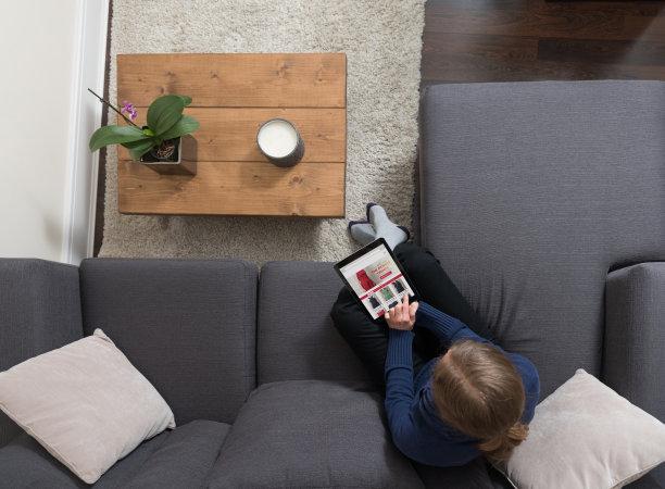 沙发,平板电脑,起居室,看,数字化显示,青年女人,高视角,家庭生活,电子商务,仅成年人