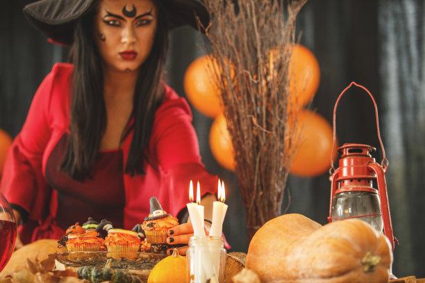 派对主人,半身像,彩妆,巫婆帽,气球,仅成年人,青年人,纸杯蛋糕,虚拟角色,魔术