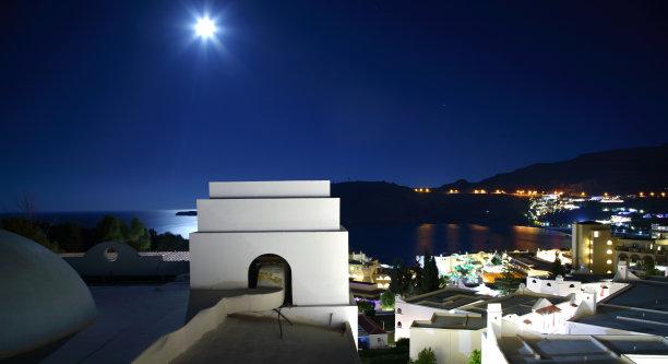 建筑,希腊,建筑外部,台阶,水平画幅,别墅,夜晚,无人,乡村,假日别墅