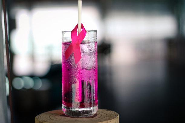 粉色,缎带,,饮食,水平画幅,乳癌警示丝带,含酒精饮料,果汁,冰,饮料
