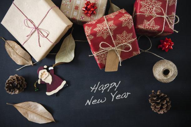 新年前夕,黑板,文字,贺卡,圣诞卡,牛皮纸,水平画幅,无人,新年
