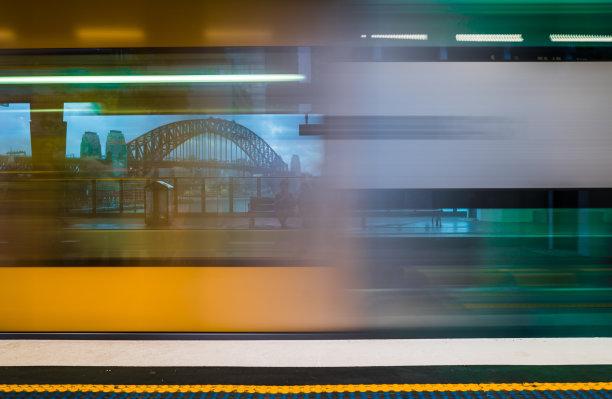 悉尼,火车站,桥,背景聚焦,悉尼港湾,未来,水平画幅,无人,铁轨轨道,交通
