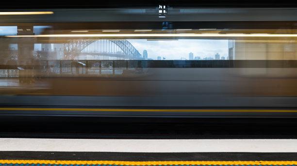 澳大利亚,悉尼,桥,悉尼港湾,火车,都市风景,未来,水平画幅,无人,铁轨轨道