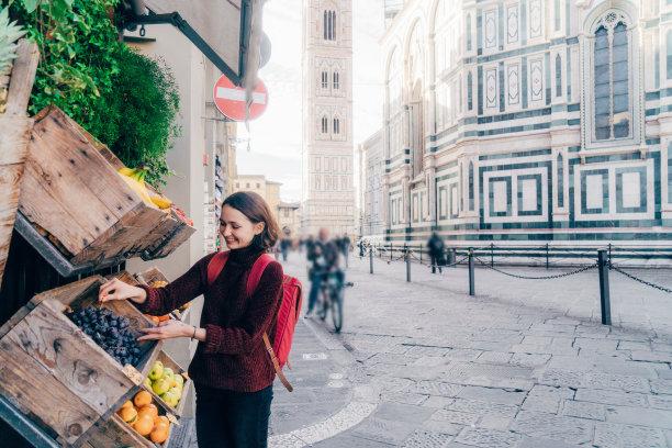 清新,街道,女人,水果,佛罗伦萨画派,美,水平画幅,维生素,佛罗伦萨,旅行者