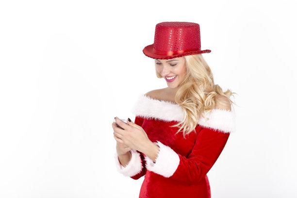 顾客,圣诞老婆婆,服务业职位,仅成年人,青年人,白色,十二月,彩色图片,客户服务代表