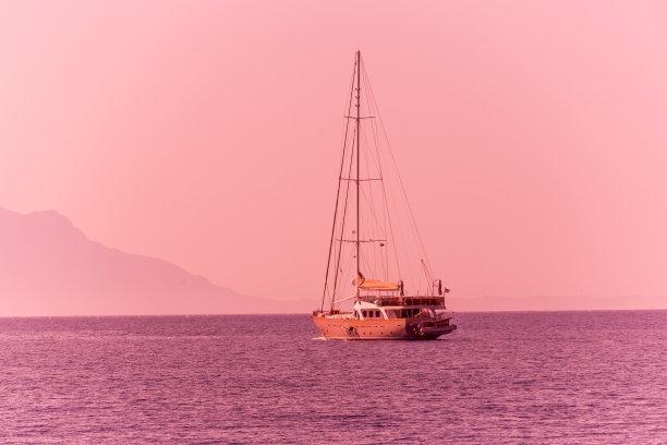 传统,木制,船,穆拉省,博都茹姆,土耳其,旅途,蓝色,旅行,航海