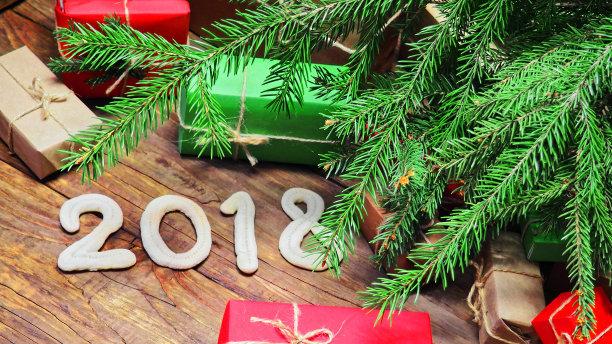 包装纸,褐色,牛皮纸,水平画幅,无人,新年,圣诞树,乡村风格,圣诞礼物