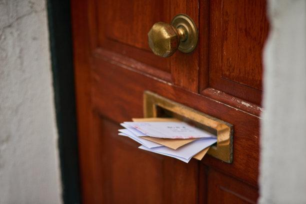 邮件,人,格子图案,科茨沃尔德 ,留白,字母,门口,门把手,水平画幅,消息