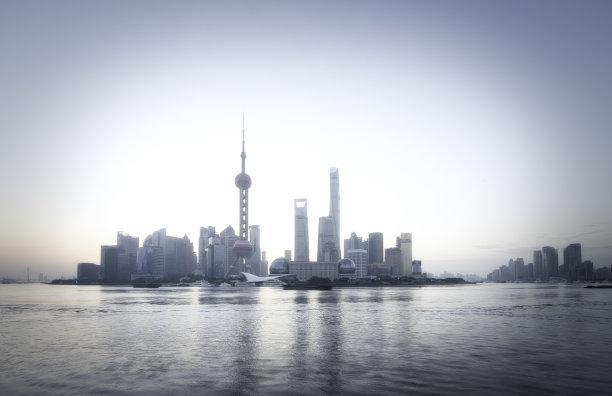 城市天际线,上海,天空,留白,未来,东亚,浦东,光,滨水,都市风景