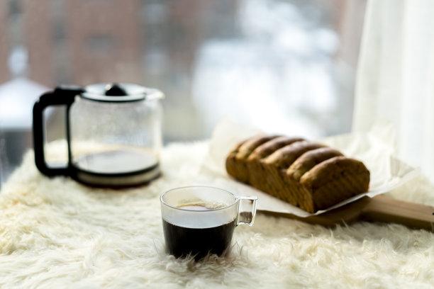 清新,凸窗,咖啡,自制的,面包,休闲活动,水平画幅,雪,无人,烘焙糕点
