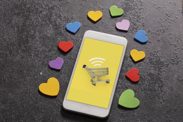 电子商务,食品杂货,情人节,购物车,商店,现代,技术,效率,计算机,街道