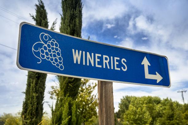 葡萄酒,葡萄园,标志,葡萄酒厂,美国西部,卡麦尔,水平画幅,无人,户外,方向