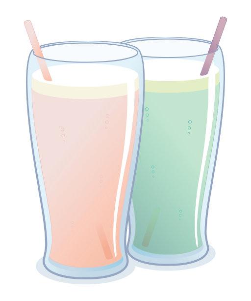 果汁,沙冰,素食,绘画插图,饮料,稻草,彩色图片,平滑的