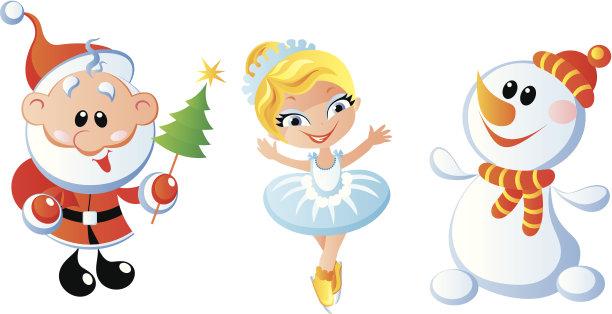 性格,垂直画幅,圣诞帽,进行中,雪,绘画插图,新年,符号,圣诞老人