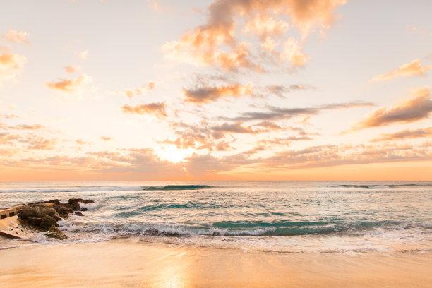棕榈沙滩镇,黎明,金色,水,天空,沙子,光,明亮,海浪,海滩