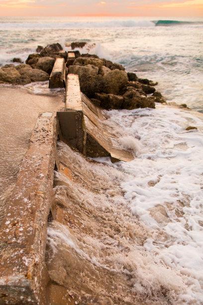 棕榈沙滩镇,海岸线,垂直画幅,水,天空,风,沙子,光,棕榈树,明亮
