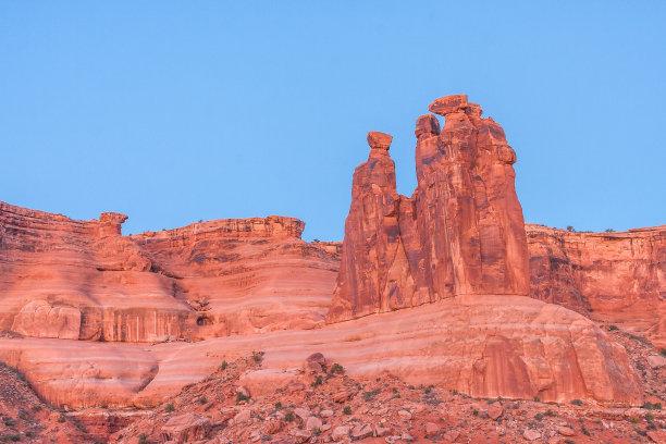 自然拱,犹他,摩押,天空,美国,水平画幅,地形,地质学,无人,蓝色